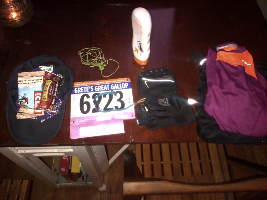 Everything I needed for race morning ready to go.