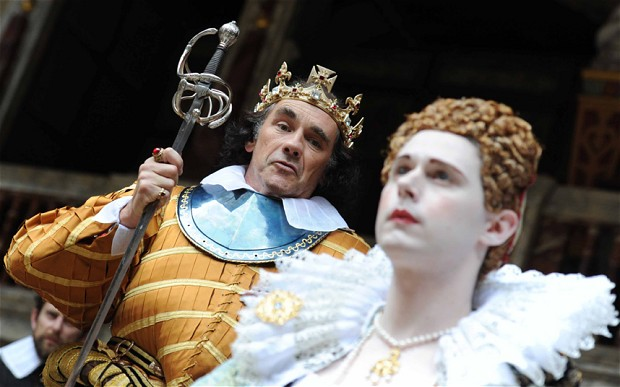 Mark Rylance and Samuel Barnett. Photo by Alastair Muir via http://www.telegraph.co.uk/culture/theatre/theatre-reviews/9427021/Mark-Rylance-in-Richard-III-Globe-Theatre-review.html