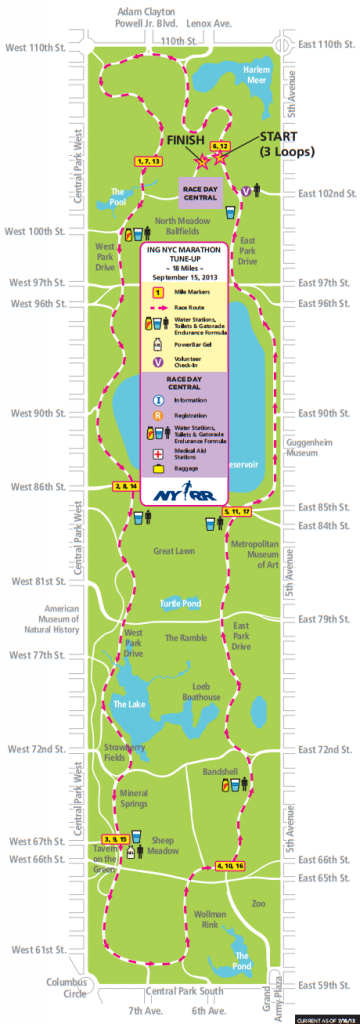 nyrr 18 mile tune up map