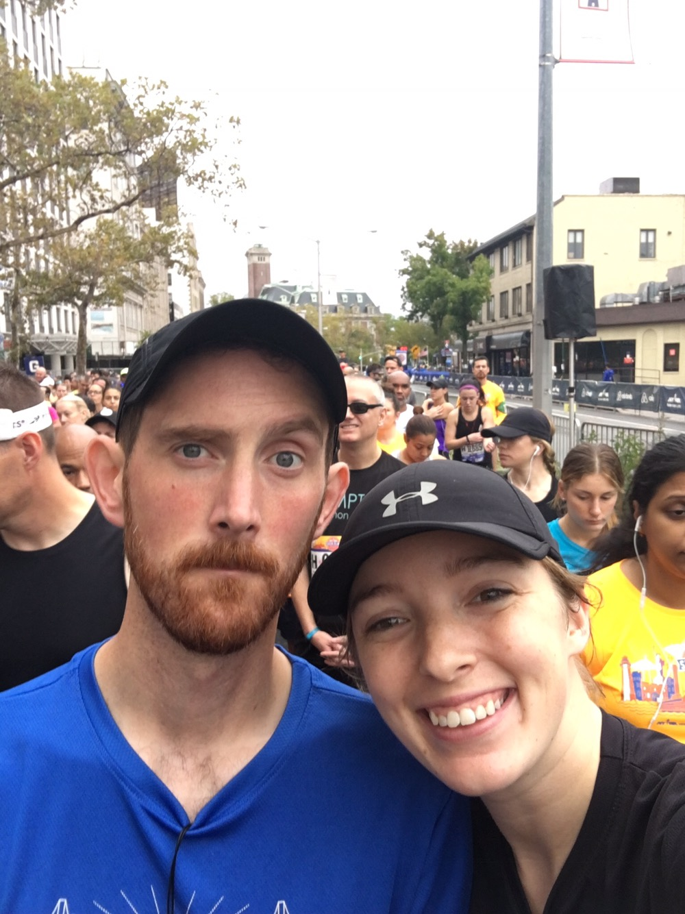 The Mister and I at the start line corral at the NYRR Staten Island Half Marathon